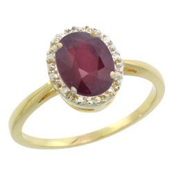 Natural 1.52 ctw Ruby & Diamond Engagement Ring 10K Yellow Gold - REF-21Z3Y