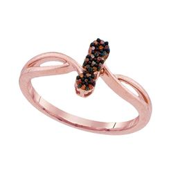 0.06 CTW Red Color Diamond Ring 10KT Rose Gold - REF-12M2H