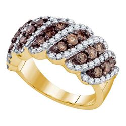 1.5 CTW Cognac-brown Color Diamond Ring 10KT Yellow Gold - REF-104X9Y