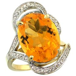Natural 11.23 ctw citrine & Diamond Engagement Ring 14K Yellow Gold - REF-104N5G