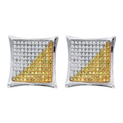 0.23 CTW Mens Yellow Color Diamond Square Cluster Earrings 10KT White Gold - REF-13H4M