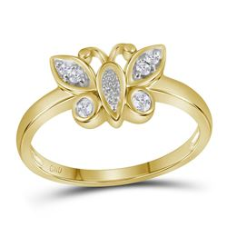 0.10 CTW Diamond Butterfly Bug Fashion Ring 10KT Yellow Gold - REF-19W4K