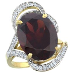 Natural 11.23 ctw garnet & Diamond Engagement Ring 14K Yellow Gold - REF-118Z9Y