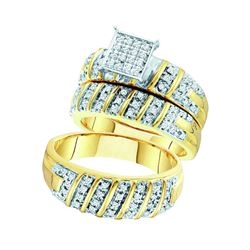 0.50 CTW His & Hers Diamond Matching Bridal Ring 10KT Yellow Gold - REF-71M9H