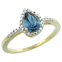 Natural 1.53 ctw london-blue-topaz & Diamond Engagement Ring 14K Yellow Gold - REF-25N6G