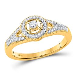 0.25 CTW Diamond Encircled Solitaire Milgrain Promise Bridal Ring 10KT Yellow Gold - REF-26M9H