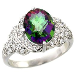 Natural 2.92 ctw mystic-topaz & Diamond Engagement Ring 14K White Gold - REF-102X7A