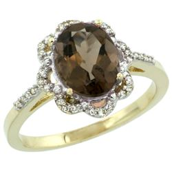 Natural 1.85 ctw Smoky-topaz & Diamond Engagement Ring 14K Yellow Gold - REF-38A6V
