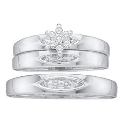 0.07 CTW His & Hers Diamond Cluster Matching Bridal Ring 10KT White Gold - REF-20Y9X