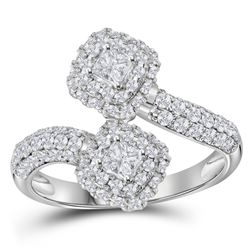 1.97 CTW Princess Diamond 2-stone Hearts Together Bridal Ring 14KT White Gold - REF-224H9M