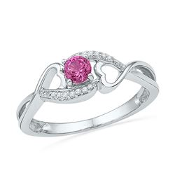 0.06 CTW Created Pink Sapphire Diamond Heart Ring 10KT White Gold - REF-13F4N