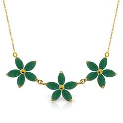 Genuine 4.2 ctw Emerald Necklace Jewelry 14KT Yellow Gold - REF-81V5W