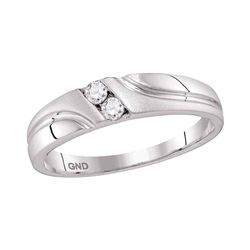 0.15 CTW Mens Diamond Wedding Anniversary Ring 10KT White Gold - REF-26N9F