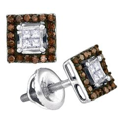 0.33 CTW Cognac-brown Color Diamond Square Cluster Earrings 10KT White Gold - REF-22X4Y