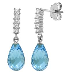 Genuine 4.65 ctw Blue Topaz & Diamond Earrings Jewelry 14KT White Gold - REF-36R2P