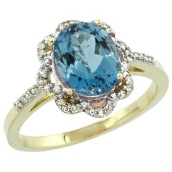 Natural 1.85 ctw London-blue-topaz & Diamond Engagement Ring 14K Yellow Gold - REF-39G2M