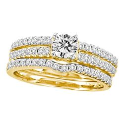 0.97 CTW Diamond 3-Piece Bridal Engagement Ring 14KT Yellow Gold - REF-127K4W