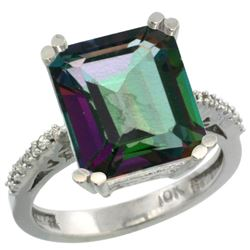 Natural 5.48 ctw Mystic-topaz & Diamond Engagement Ring 10K White Gold - REF-39R6Z