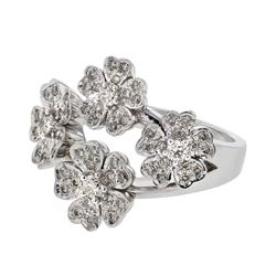 0.73 CTW Diamond Ring 14K White Gold - REF-89K5W