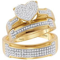 0.50 CTW His & Hers Diamond Heart Cluster Matching Bridal Ring 10KT Yellow Gold - REF-59X9Y