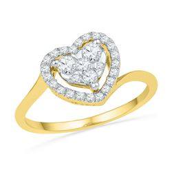 0.33 CTW Diamond Heart Cluster Ring 10KT Yellow Gold - REF-30F2N