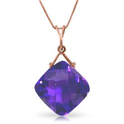 Genuine 8.75 ctw Amethyst Necklace Jewelry 14KT Rose Gold - REF-27H2X