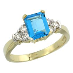 Natural 1.48 ctw swiss-blue-topaz & Diamond Engagement Ring 14K Yellow Gold - REF-52Y3X