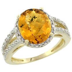 Natural 3.47 ctw Whisky-quartz & Diamond Engagement Ring 10K Yellow Gold - REF-33Y6X