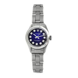 Rolex Pre-owned 26mm Womens Custom Blue Vignette Stainless Steel - REF-360Y2W