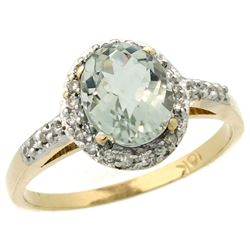 Natural 1.3 ctw Green-amethyst & Diamond Engagement Ring 10K Yellow Gold - REF-25M9H
