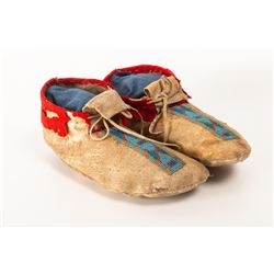 "Blackfeet Beaded Man's Moccasins, 9.5"" long"