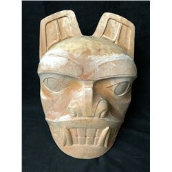 NATIVE WOOD CARVED MASK (12  X 12 )