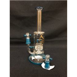 "EVOLUTION SUPER CELL 9.5"" DARK BLUE GLASS BONG W/ BOWL"