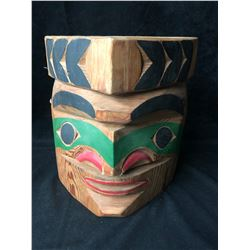 "NATIVE WOOD CARVED MASK ""MEDICINE MAN"" (12"" X 12"") BY CHIEF NICK"