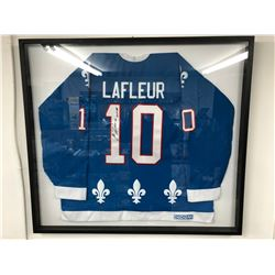 "GUY LAFLEUR SIGNED QUEBEC NORDIQUES HOCKEY JERSEY W/ COA (FRAMED 40"" X 36"")"