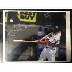 "JUSTIN MORNEAU SIGNED 8"" X 10"" COLOR PHOTO"