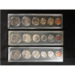 3 CASED 6 COIN CANADIAN SETS  VARIOUS YEARS