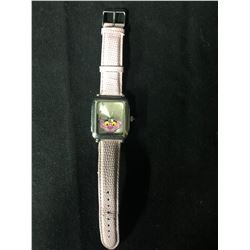 PINK PANTHER WRIST WATCH (STAINLESS STEEL BACK/ LEATHER BAND)