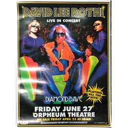 DAVID LEE ROTH OFFICIAL CONCERT POSTER (ORPHEUM THEATRE VANCOUVER BC)