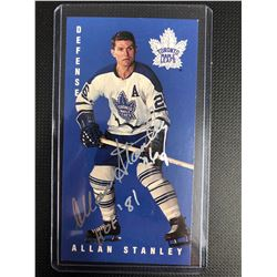 ALLAN STANLEY AUTOGRAPHED TALL BOY HOCKEY CARD