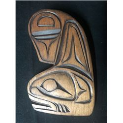 HAND CARVED NATIVE KILLER WHALE PLAQUE SIGNED BY CHRISTINE TURNER
