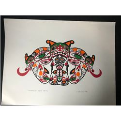 """20 X 24 LIMITED EDITION PRINT SIGNED BY J. NELSON """" LONGHOUSE MASK"""""""