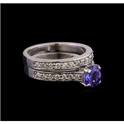 1.33 ctw Tanzanite and Diamond Ring Set - 14KT White Gold