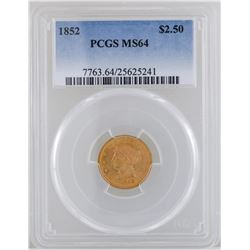 1852 $2 1/2 Liberty Head Quarter Eagle Gold Coin PCGS MS64