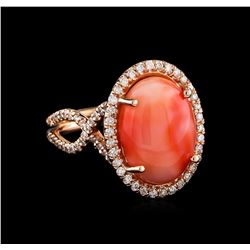 6.62 ctw Coral and Diamond Ring - 14KT Rose Gold