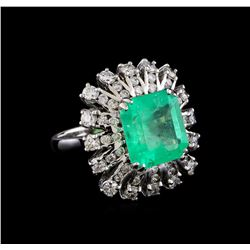5.93 ctw Emerald and Diamond Ring - 14KT White Gold