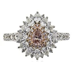 0.27 ctw Fancy Pink Diamond Ring - 18KT Two-Tone Gold
