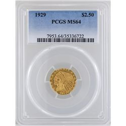 1929 $2 1/2 Indian Head Quarter Eagle Gold Coin PCGS MS64