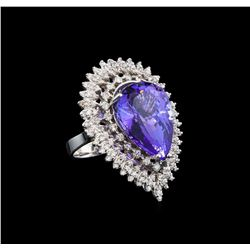 GIA Cert 19.38 ctw Tanzanite and Diamond Ring - 14KT White Gold