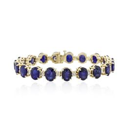14KT Yellow Gold 31.25 ctw Corundum and Diamond Bracelet